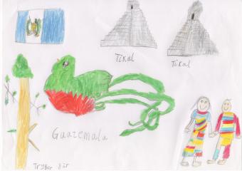 """""""Trygve (8 år) har tatt med flagget, nasjonalfuglen som han ble kjent med på guatreff, Tikal som Tor Kristian Iversen har vært på og nasjonaldrakter som han blant annet fikk se da Cindy Rodas Juárez bodde hos oss."""""""