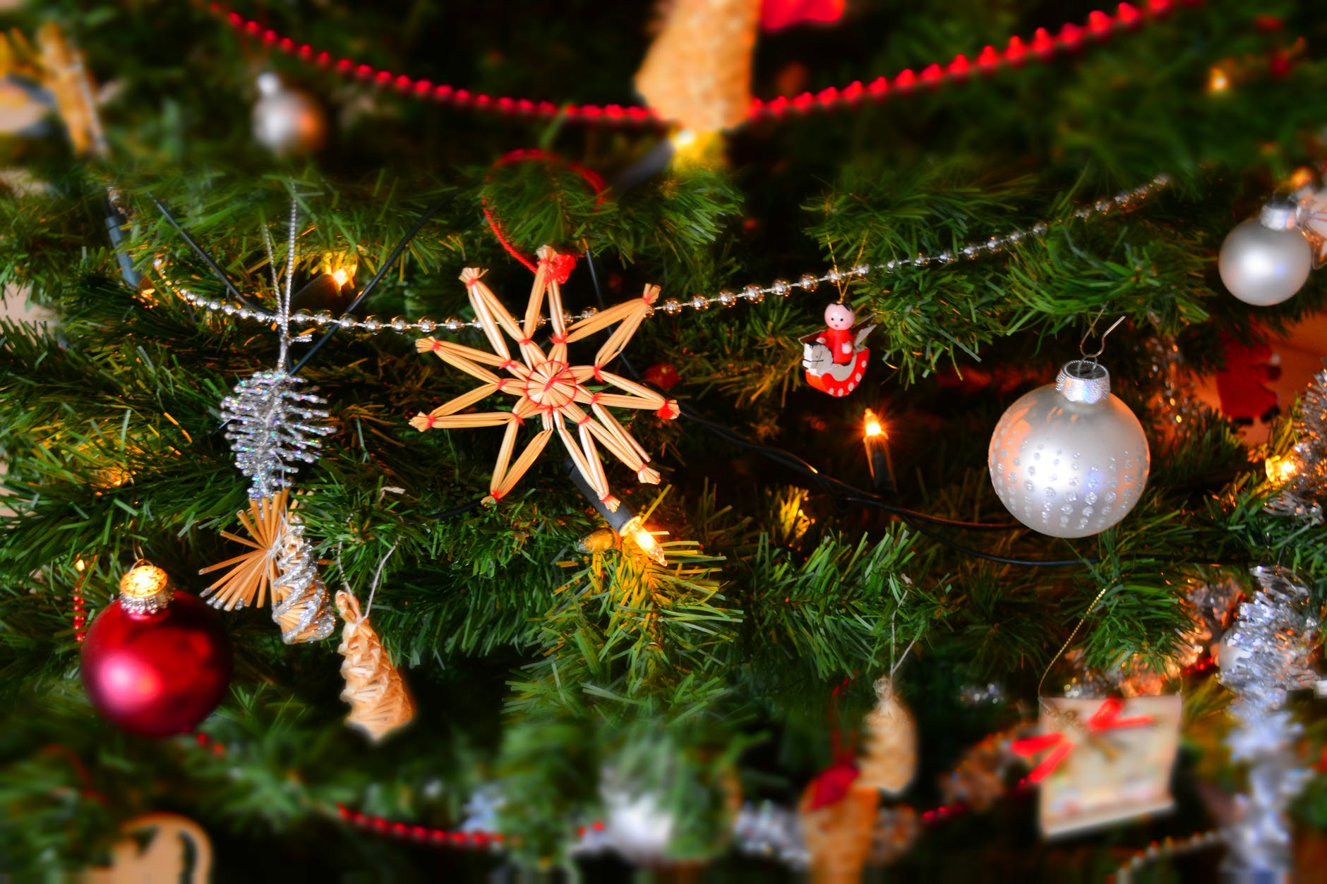 close up of christmas decoration hanging on tree